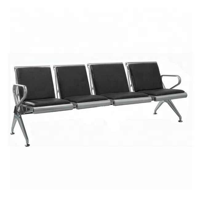 Picture of Airport Bench - Indoor Waiting Room Seat - Aluminium - Upholstered - Four Seater - Flat Pack - 244 x 67 x 82 cm - PF04A-black