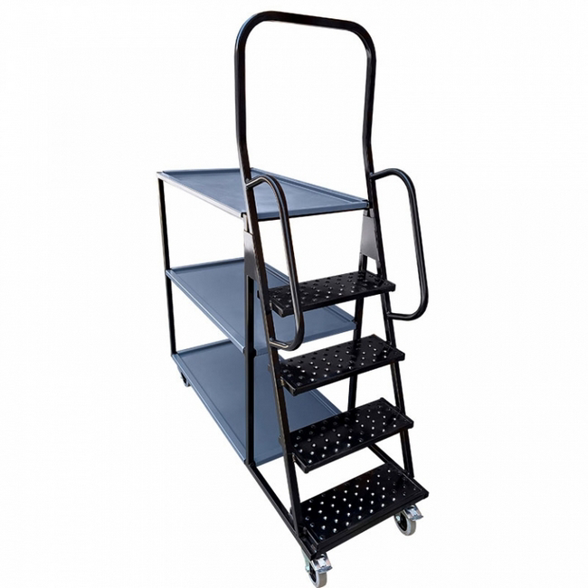 Ideal for stock picking purposes, 4 steps and 3 shelves, trolley, trollies, steel trolley, metal tro.