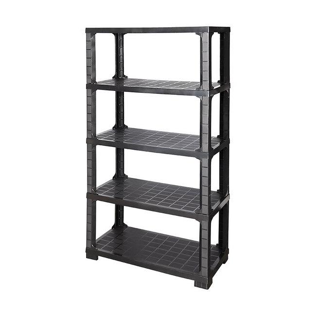 Material: polypropylene, source: recycled, shelving, plastic shelving, garage shelving.