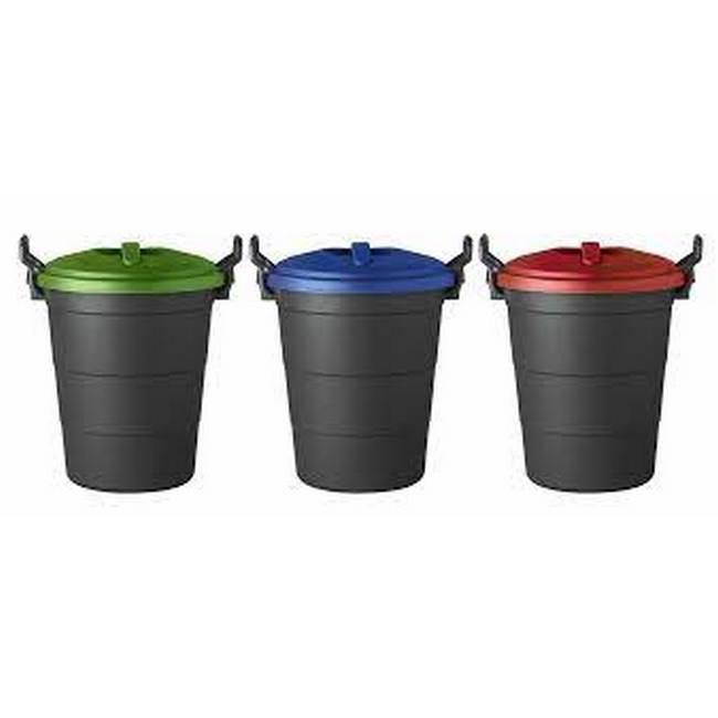 Material: polypropylene, source: virgin lids and recycled base, dust bin, refuse bin, 70l bin, black.