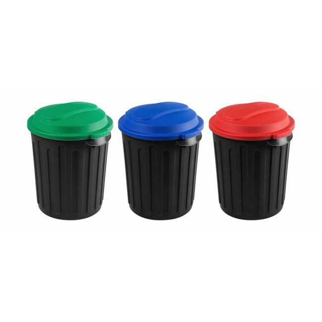 Material: polypropylene, source: virgin lids and recycled base, dust bin, refuse bin, 60l bin, black.