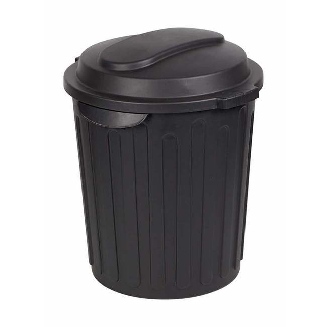 Material: polypropylene, source: recycled, dust bin, refuse bin, 60l bin, black refuse bins.