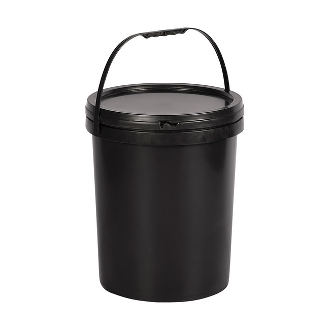 Material: polypropylene, source: recycled, plastic bucket, bucket, pail, bucket with handle.
