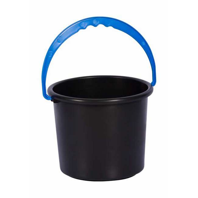 Material: polypropylene, source: recycled, bucket, container, plastic container.